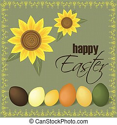 Easter greeting card. - Easter sunflowers greeting card.