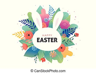 Easter greeting card - flowers and cute bunny. Vector design