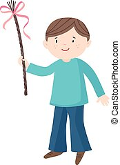 Easter greeting card, invitation. Smiling little boy with a whip and ribbons. European Czech and Slovak Easter tradition. Hand drawn isolated vector illustration. Flat design.