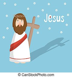 Easter greeting card, invitation with Jesus Christ and cross, vector