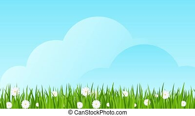 Easter eggs on green grass with daisies.
