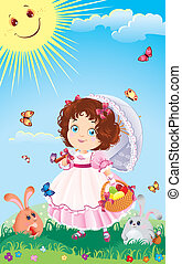 Easter greeting card with cute little girl on a walk. Come...
