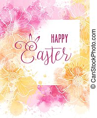 Easter greeting card with abstract florals and watercolor...