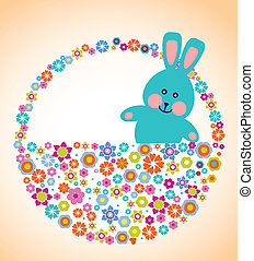 Easter greeting card with bunny