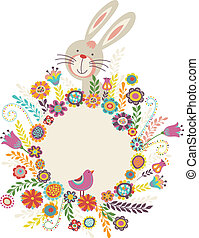 Easter greeting card with bunny, vector illustration