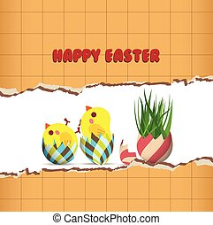 Easter greeting card with chicken