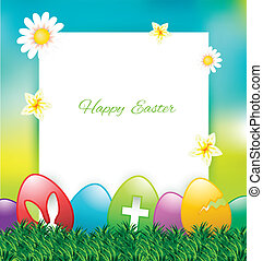 Easter greeting card with colorful