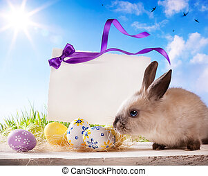 Easter greeting card with Easte egg - Easter greeting card...
