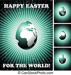 easter greeting card with globe egg on shining background...