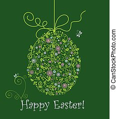 Easter greeting card with hanging lacy egg