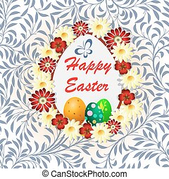 Easter greeting card with inscription in the grass