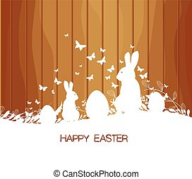 Easter greeting card with rabbit