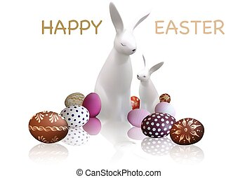 Easter Greeting Card with White Bunnies