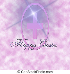 Easter Greeting - Pink cloudy background with cross and...