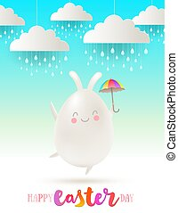 Easter greeting vector illustration. Cute cartoon character egg with bunny ears and umbrella under fake clouds with rain.