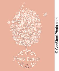 Easter greeting with lacy tree