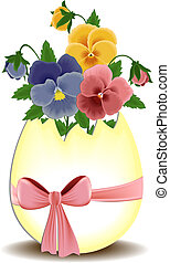 Easter greetings card with pansies in the egg