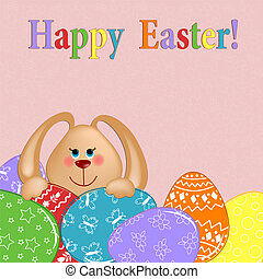 Easter greetings card with rabbit and eggs