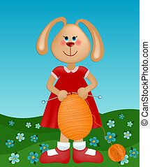 Easter greetings card with rabbit knitting the egg