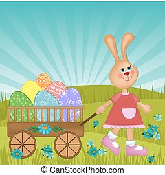 Easter greetings card with rabbit