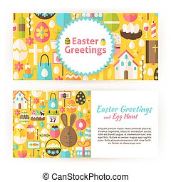 Easter Greetings Flat Style Vector