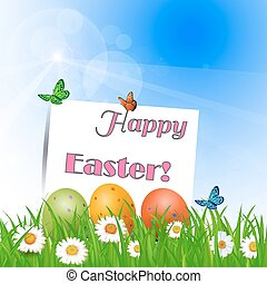 Easter greetings on a bright sunny background