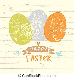 Easter hand lettering and doodles elements. Vector greeting card