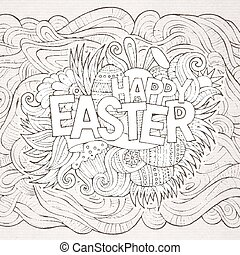 Easter hand lettering and doodles elements. Vector...