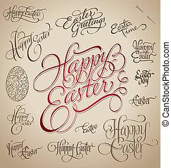 easter hand lettering set (vector)