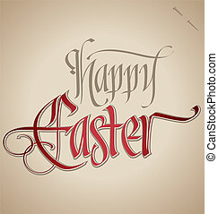easter hand lettering (vector) - 'happy easter' hand...