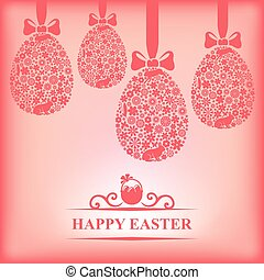 Easter hanging decorative eggs on pink background