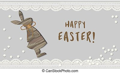 Easter. hare illustration. Bunny Rabbit. Wooden figurine. Decorative element for your design. Happy .
