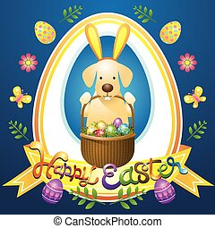 Easter Heading Label with Labrador