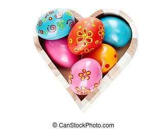 Easter heart - Heart shaped box full of colorful Easter eggs