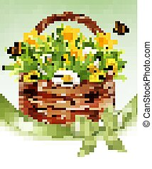 Easter Holiday Background. Colofrul eggs in green grass and flowers. Vector.