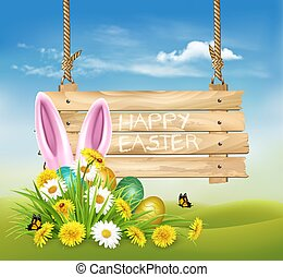 Easter Holiday Background with colofrul eggs and a pink rabbit in green grass and wooden sign. Vector.