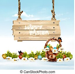 Easter Holiday Background with colofrul eggs in green grass and wooden sign. Vector.