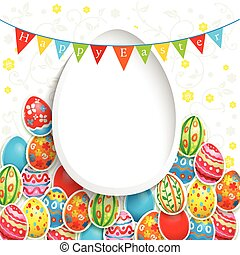 Easter holiday background with color eggs