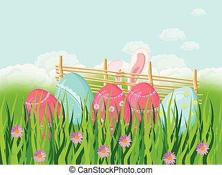 Easter holiday background with cute rabbit ears and eggs in the grass Vector