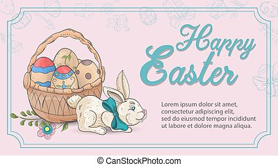 Easter holiday banner greetings a rabbit sits next to a basket of eggs in the style of childrens Doodle