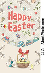 Easter holiday banner illustration with an inscription for congratulations in the style of childrens doodles for design design, the inscription in perspective colored eggs basket gray background