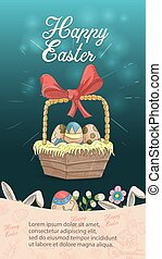 Easter holiday banner illustration with an inscription for congratulations in the style of childrens doodles for design design, basket with colored eggs dark blue background rabbit ears