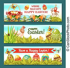 Easter Holiday banner set with decorated eggs