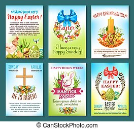 Easter holiday celebration banner template set
