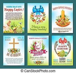 Easter holiday celebration banner template set