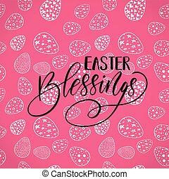 Easter holiday celebration. Easter Blessings handwriting lettering