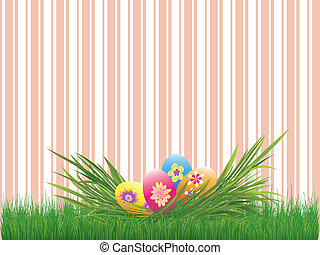 Easter holiday colorful easter eggs pink stripe background