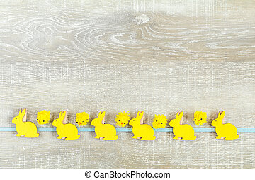 Easter holiday composition in yellow colors