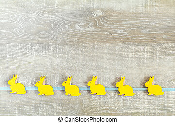 Easter holiday composition in yellow colors - Easter...