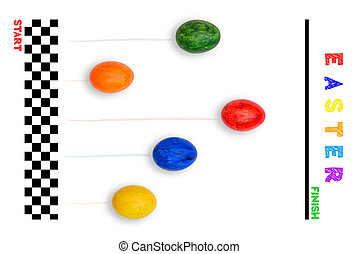 Easter holiday concept. Egg competition. Bright colored eggs run to the finish. Easter card